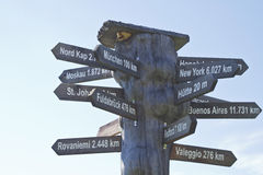 International signpost. International guide for globetrotters in front of blue sky Stock Image