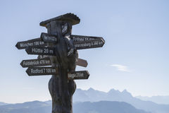International signpost. For globetrotters in Austria Stock Images