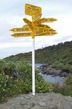 International Signpost. At the southern tip of the south island in Bluff, New Zealand stock image