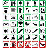 International signs used in transportation means Stock Photo