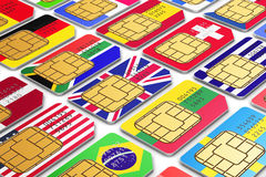 International SIM cards with flags Stock Image