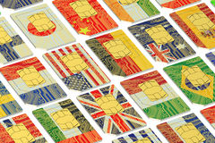 International SIM cards with flags. Isolated on white background royalty free illustration