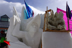 International Snow Sculpture Competition Royalty Free Stock Photos