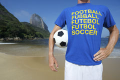 International Soccer Football Player Ipanema Rio Stock Photos