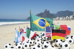 International Soccer Team Flags Footballs Rio de Janeiro Brazil Stock Photos