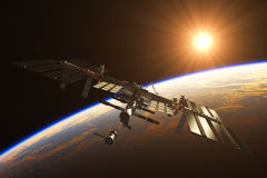 International Space Station On The Background Of Rising Sun Stock Photography