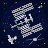 International Space Station flat vector illustration Stock Images