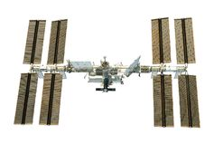 The International Space Station, the ISS developed, from below, isolated. Elements of this image were furnished by NASA