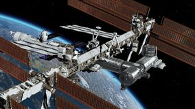 International Space Station ISS revolving over earths atmosphere. Space Station Orbiting Earth. 3D Animation. Elements of this image furnished by NASA stock illustration