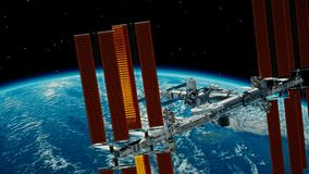 International Space Station ISS revolving over earths atmosphere. Space Station Orbiting Earth. 3D Animation. Elements of this image furnished by NASA stock footage