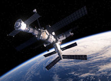 International Space Station Orbiting Earth. 3D Scene Royalty Free Stock Photo