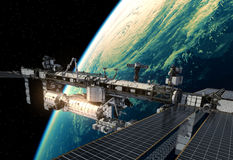 International Space Station Orbiting Planet Earth. 3D Illustration Stock Images