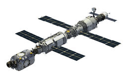 International Space Station Over White Background. 3D Illustration stock illustration