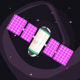 International Space Station With Solar Panels Unfolded. On Dark Night Sky Background. Cool Colorful Cosmic Fantasy Vector Illustration In Stylized Geometric Royalty Free Stock Images