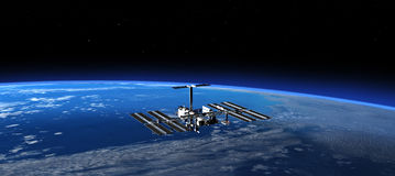 International Space Station In Space. 3D Scene. Stock Photography