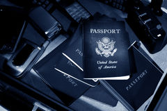 International Spy Passport & Cell Phone Kit Stock Images