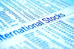 International stocks. Closeup of international stocks financial report stock photo