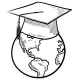 International student sketch. Doodle style global graduation sketch in vector format Royalty Free Stock Image