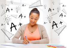 International student studying in college Stock Photos