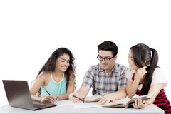 International students having a group meeting stock image