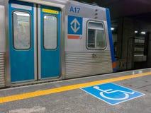 International symbol of access in brazilian subway station Stock Photos
