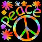 International symbol of peace, disarmament, anti-war movement.. Grunge street art design in hippies rainbow colors, inscription peace. Vector image on radiating Stock Images