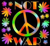 International symbol of peace, disarmament, anti-war movement. Grunge street art design in hippies rainbow colors, inscription not Royalty Free Stock Photo