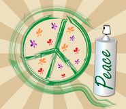 International symbol of peace, disarmament, anti-war movement. Grunge street art design with spray, inscription peace. Vector image on radiating background Royalty Free Stock Photos