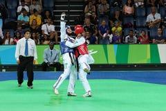 International Taekwondo Tournament - Rio 2016 Test Events - UZB vs IRI Stock Image