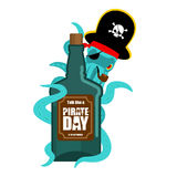 International Talk Like A Pirate Day. Octopus pirate and bottle Royalty Free Stock Photo