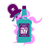 International Talk Like A Pirate Day. Octopus pirate and bottle Royalty Free Stock Photos