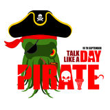International Talk Like A Pirate Day. Octopus pirate.   Royalty Free Stock Image