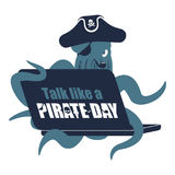 International Talk Like A Pirate Day. Octopus web pirate and lap Stock Photo