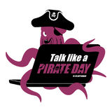 International Talk Like A Pirate Day. Octopus web pirate and lap Royalty Free Stock Photography