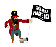 International Talk Like A Pirate Day. Pirate Hook and cannon.   Stock Photo