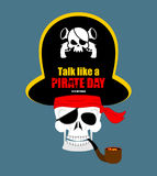 International Talk Like A Pirate Day. Skull Pirate portrait in Stock Photos