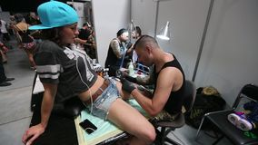 International Tattoo Convention in Krakow stock video footage