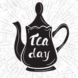 International tea day. Black teapot on an abstract background. H Stock Image