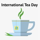 International Tea Day, december 15. Cup of tea with mint and sugar vector illustration