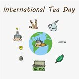 International Tea Day, december 15. Tea making set vector illustration