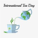 International Tea Day, december 15. Pouring tea from kettle royalty free illustration