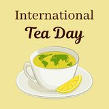 International Tea Day theme. Cup with a world map and a slice of lemon. Greeting card, poster or square banner. Vector Royalty Free Stock Image