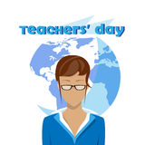 International Teacher Day Holiday Woman Over World Map Background Stock Images