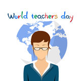 International Teacher Day Holiday Woman Over World Map Background Stock Photos