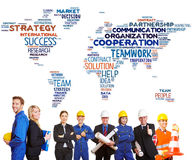 International team cooperation. With white and blue collar workers together stock photo