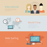 International team world time surfing flat vector banner slider Royalty Free Stock Photos
