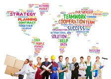 International teamwork with many professions stock photo