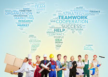 International teamwork with many trades Royalty Free Stock Photo