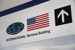 International terminal building direction sign Royalty Free Stock Photo