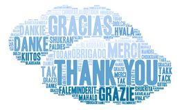 International Thank You Word Cloud. Each word used in this word cloud is another language`s version of the word Thank You Stock Photos
